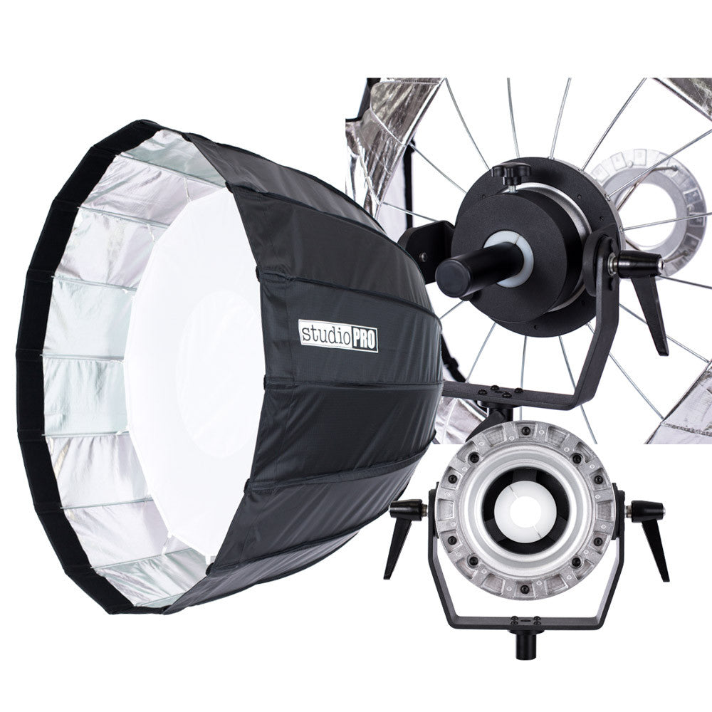 "StudioPRO 35"" 16 Rods Parabolic Softbox for Bowens Monolights With Mounting Arm"