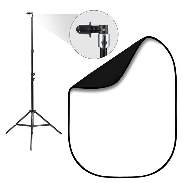 Black & White Double-Sided Pop-Up Background Kit with Stand