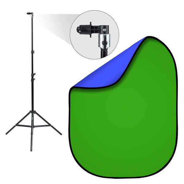 Chroma Key Green & Blue Double-Sided Pop-Up Background Kit with Stand