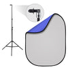 Gray & Chroma Key Blue Double-Sided Pop-Up Background Kit with Stand