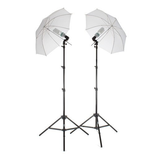 2-Light Single-Socket High-Power Fluorescent Lighting Kit with Translucent Umbrellas