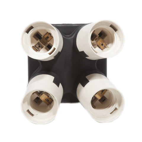 Four Socket Adapter for Photography / Video Fluorescent Light Fixture