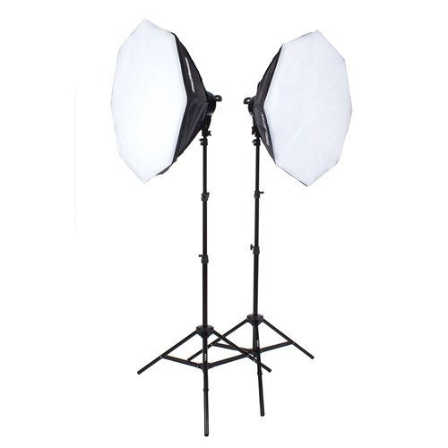 "StudioPRO Fluorescent Two 5 Socket Head AC Power Light Kit With 32"" Octagon Softbox, 2000W Output -  - 1"