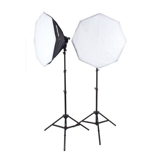 "StudioPRO Fluorescent Two 7 Socket Head AC Power Light Kit With 32"" Octagon Softbox, 3200W Output -  - 1"