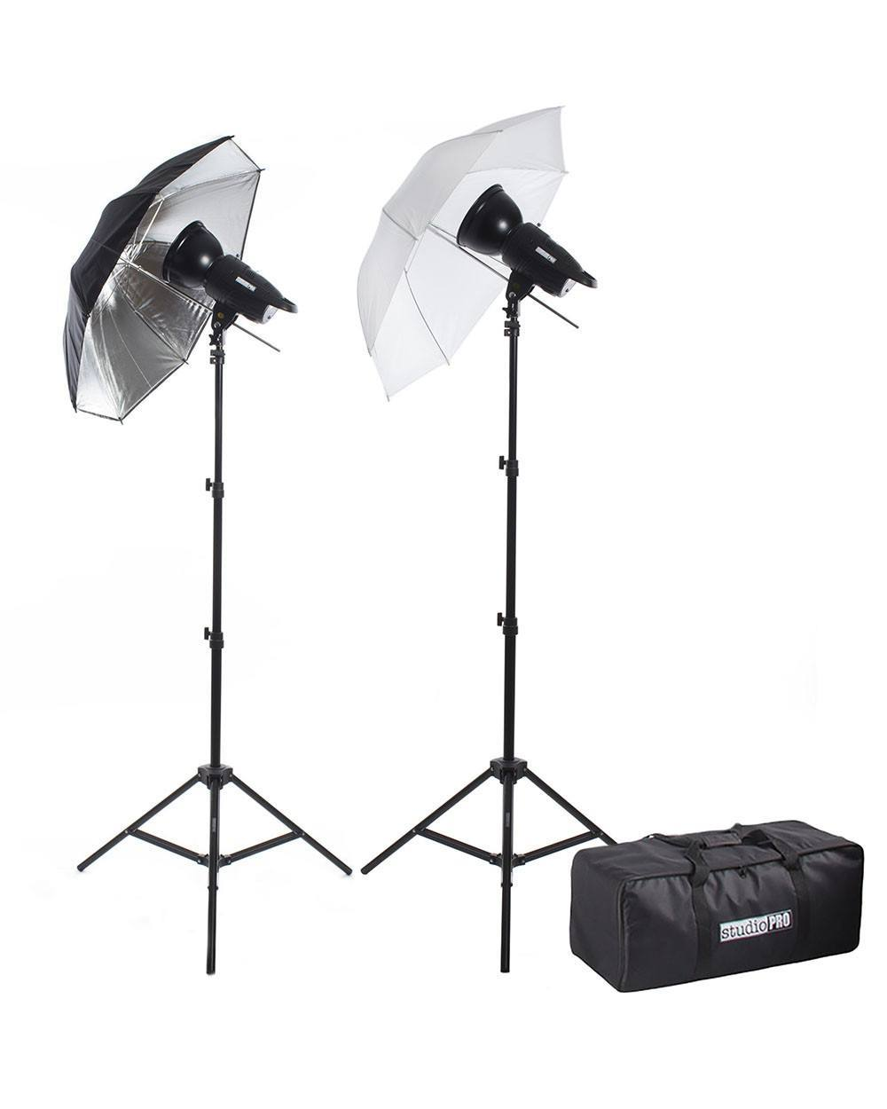 "300W/s Two Strobe 33"" Translucent & Black Silver Umbrella Kit w/ Carrying Bag -  - 1"