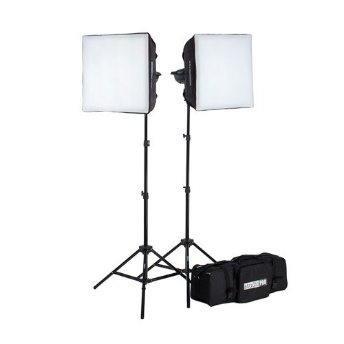 "StudioPRO Two 150W/s Monolights 20"" Square Softbox Kit Carrying Case -  - 1"