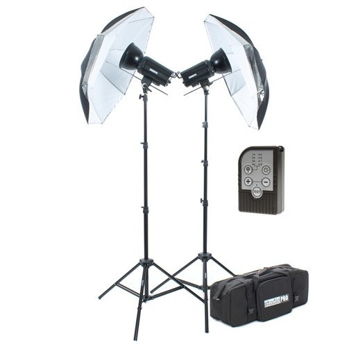 "StudioPRO Two Monolight Kit with Take Down 33"" Umbrella with Carrying Case & Trigger- 400W/s -  - 1"