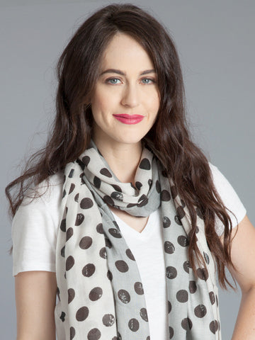 Polka Dot Scarf –White/Grey