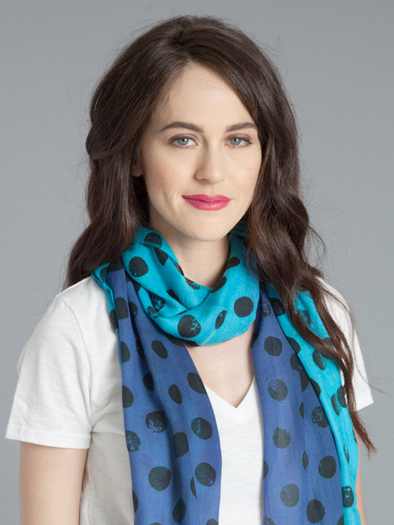 Polka Dot Scarf –Turquoise/Periwinkle