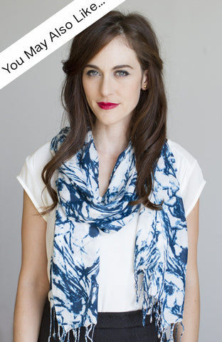 Floral Swirl Scarf in Teal Blue
