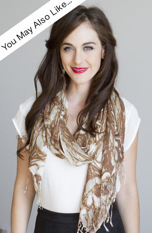Floral Swirl Scarf in Amber