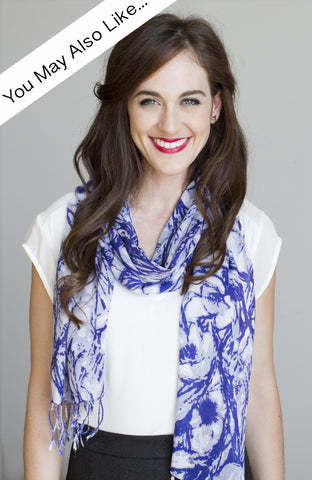 Floral Swirl Scarf in Blue Lavender