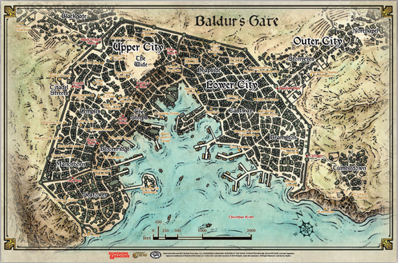 Dungeons & Dragons 5E: Baldur's Gate Descent Into Avernus: Baldur's Gate Map