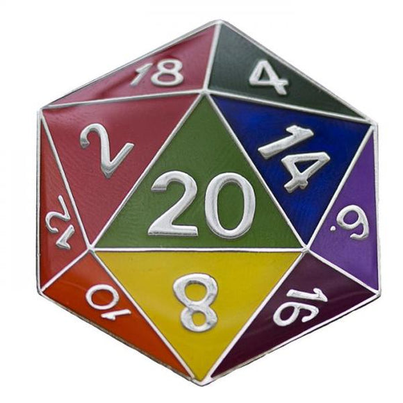 RPG Enamel Pin: Rainbow d20