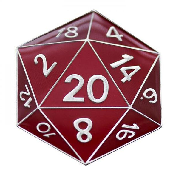 RPG Enamel Pin: Red d20