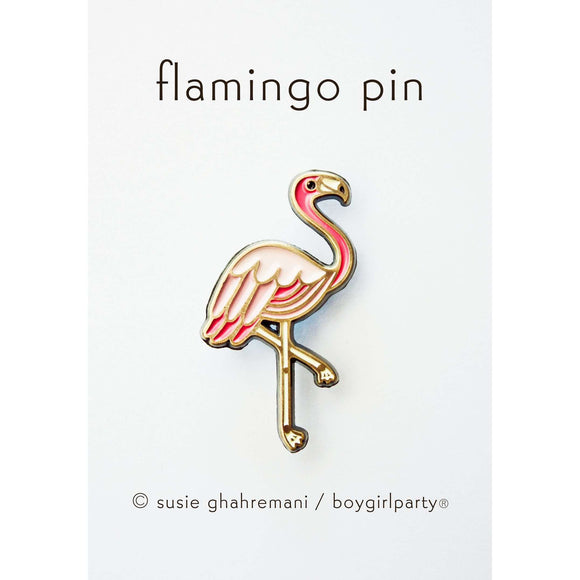 Boygirlparty - Pink Flamingo Enamel Pin - boygirlparty tropical bird brooch