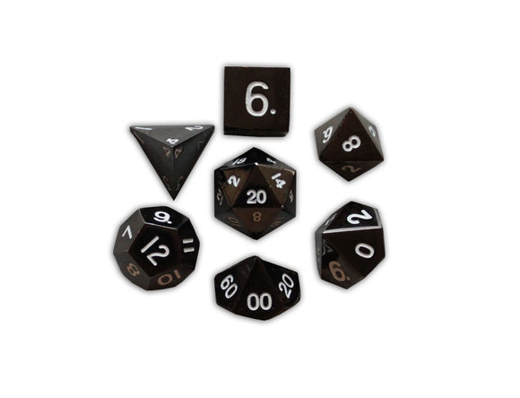 Drow Black 7 Piece RPG Metal Dice Set