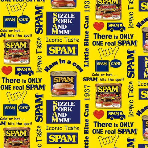 Spam Pop Art on Yellow- Cotton Fabric