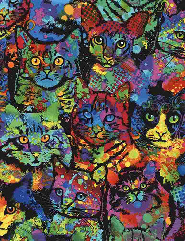 Timeless Treasures Paint Splatter Cats C4140