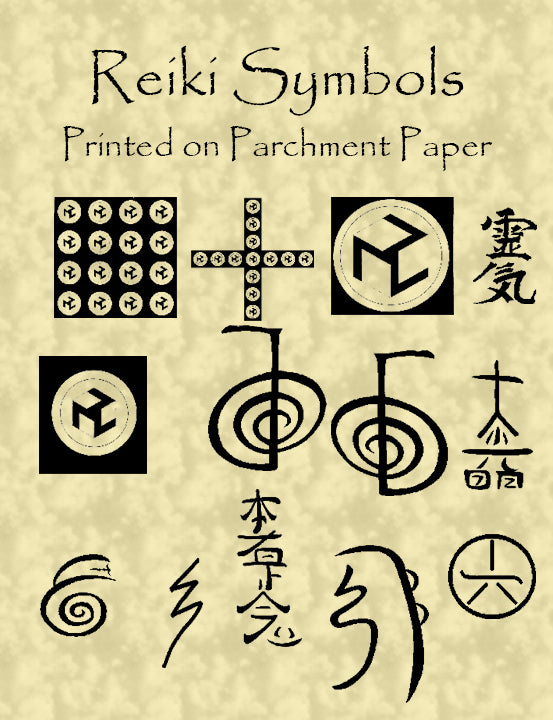 Reiki Seals - high resolution printed on 24# Parchment paper 14 pages