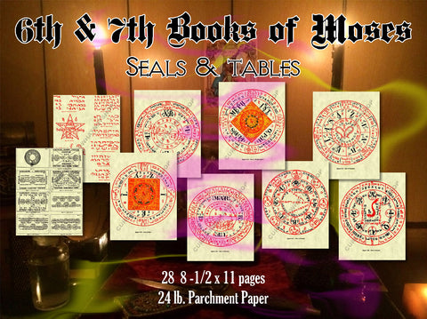6th & 7th Books of Moses Seals & Tables complete 28pg high quality, in color