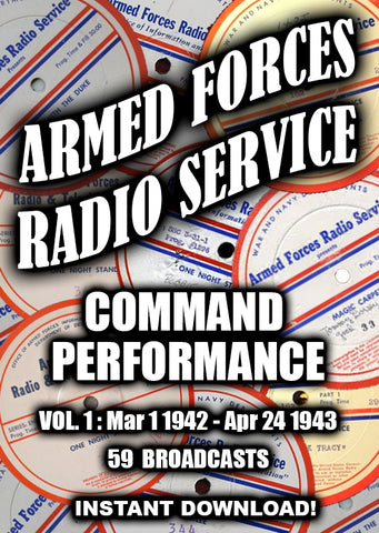 AFRS Command Performance Vol 1 - 1942-1943 - 59 Performances - Old Time radio - Instant Download