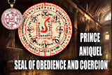 Prince Aniquel Seal of Obedience and Coercion from the 6th & 7th Books of Moses high resolution printed in color on 24# Parchment paper, 4 sizes, 19 copies total; matching pendant available.
