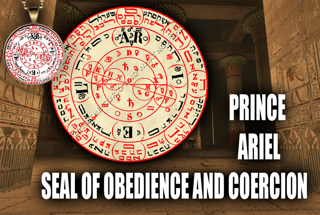 Prince Ariel Seal of Obedience and Coercion from the 6th & 7th Books of Moses high resolution printed in color on 24# Parchment paper, 4 sizes, 19 copies total; matching pendant available.