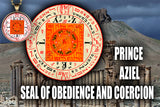 Copy of Prince Aziel Seal of Obedience and Coercion from the 6th & 7th Books of Moses high resolution printed in color on 24# Parchment paper, 4 sizes, 19 copies total; matching pendant available.