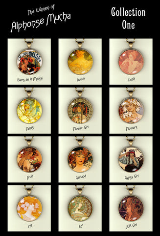 "Alphonse Mucha's Women - Art Noveau Photo Pendants 30mm (1-1/4"") w/24"" chain"