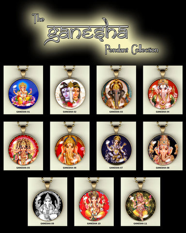 "Ganesha handcrafted photo pendants 30 mm  (1-1/4"") on 24"" chain"