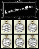 "Pentacles of the Moon - handcrafted photo pendants 30 mm  (1-1/4"") on 24"" chain"