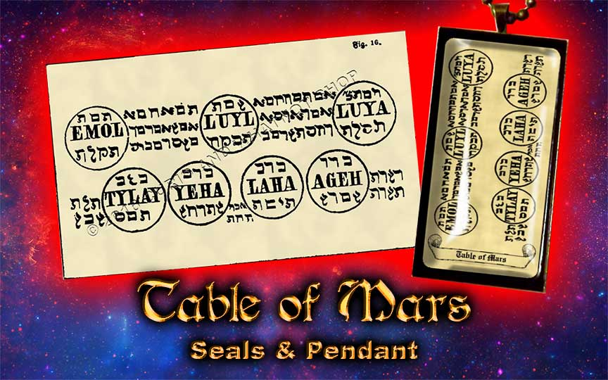 Planetary Seal of Mars from the 6th & 7th Books of Moses high resolution printed on 24# Parchment 4 sizes, 19 copies total; pendant