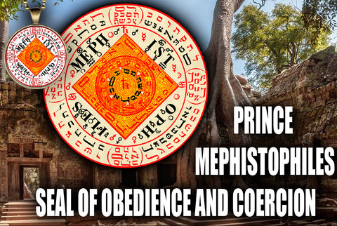 Prince Mephistophiles Seal of Obedience and Coercion from the 6th & 7th Books of Moses high resolution printed in color on 24# Parchment paper, 4 sizes, 19 copies total; matching pendant available.