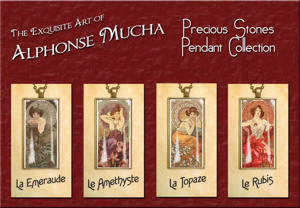 "Alphonse Mucha ""Precious Stones"" - Exquisite handcrafted Photo Pendants 25 x 50mm"