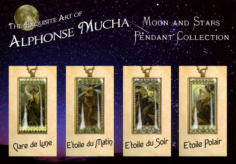 "Alphonse Mucha ""Moon and Stars"" - Exquisite Art Noveau Photo Pendants 25 x 50mm"