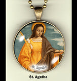 "Catholic Saints handcrafted photo pendants 30 mm  (1-1/4"") on 24"" chain"