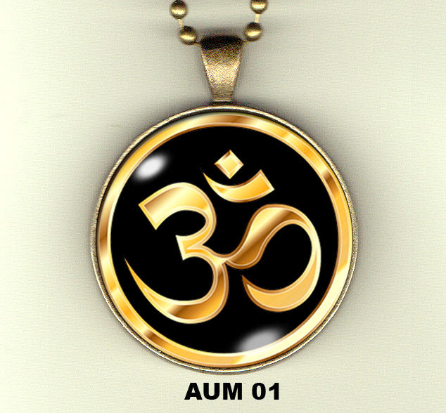 "Aum handcrafted photo pendants 30 mm  (1-1/4"") on 24"" chain"