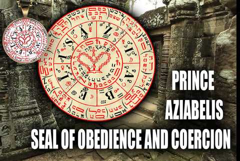 Prince Aziabelis Seal of Obedience and Coercion from the 6th & 7th Books of Moses high resolution printed in color on 24# Parchment paper, 4 sizes, 19 copies total; matching pendant available.
