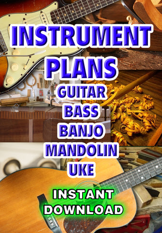 Instrument Plans Guitar Bass Banjo Mandolin Uke - luthier resource- Instant download