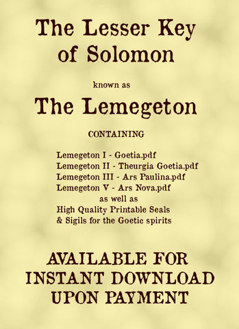 The Lesser Key of Solomon - Lemegeton - all 5 volumes - digital download - Gene's Weird Stuff  - 1