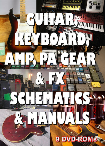 Guitar, Amp, Keyboard, PA Schematics & Manuals and more 9 DVD-ROMs