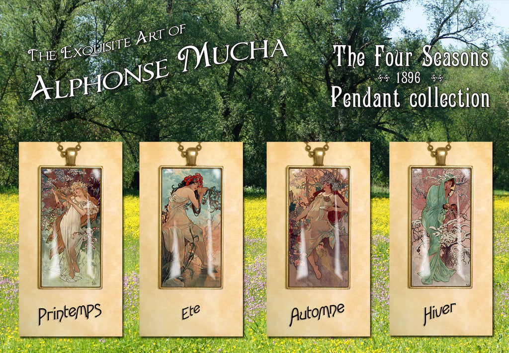 "Alphonse Mucha ""4 Seasons 1896"" - Art Noveau Photo Pendants 25 x 50mm"