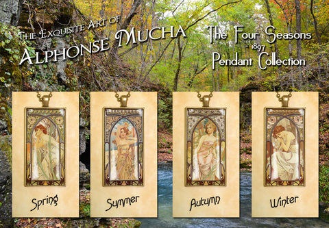 "Alphonse Mucha ""4 Seasons 1897"" - Art Noveau Photo Pendants 25 x 50mm"