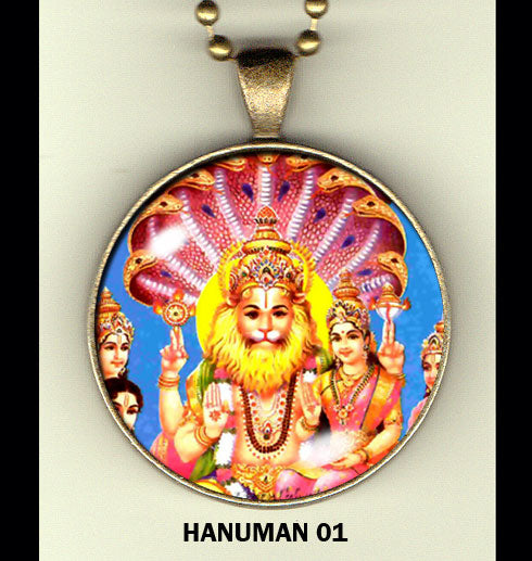 "Hanuman handcrafted photo pendants 30 mm  (1-1/4"") on 24"" chain"