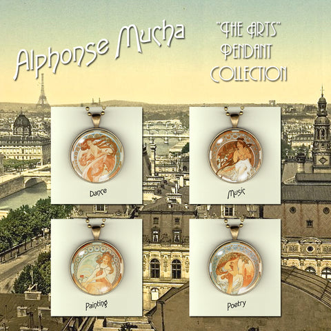 "Alphonse Mucha - ""The Arts"" - Art Noveau Photo Pendants 30mm (1-1/4"")  24"" chain"