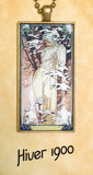 "Alphonse Mucha ""4 Seasons 1900"" - Art Noveau Photo Pendants 25 x 50mm"