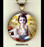 "Lord Krishna handcrafted photo pendants 30 mm  (1-1/4"") on 24"" chain"