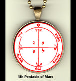"Pentacles of Mars - handcrafted photo pendants 30 mm  (1-1/4"") on 24"" chain"