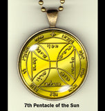 "Pentacles of the Sun handcrafted photo pendants 30 mm  (1-1/4"") on 24"" chain"